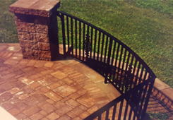 Brick Deck with Iron Railings